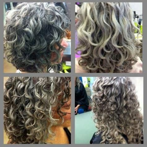 curly hair with grey highlights gray grey and love on pinterest