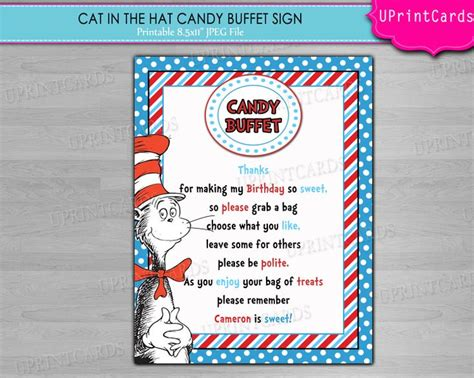 baby shower buffet sign template 139 best images about cat in the hat on