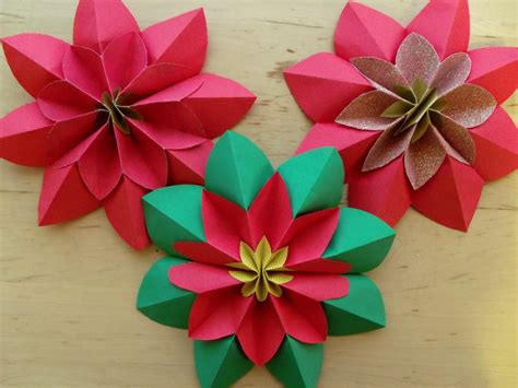 Poinsettia Paper Craft - how to fold a poinsettia flower origami