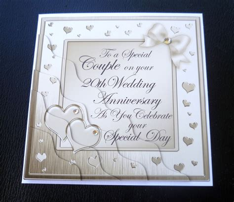 silver wedding anniversary card images special 20th wedding anniversary card plum gold silver or chagne ebay