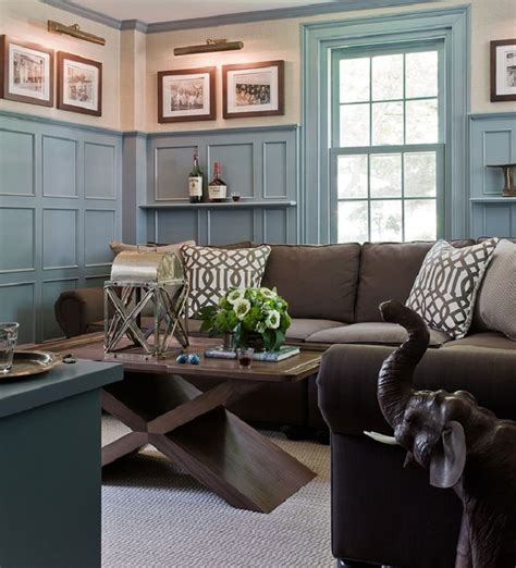 brown and blue walls living room blue walls brown couch conceptstructuresllc com