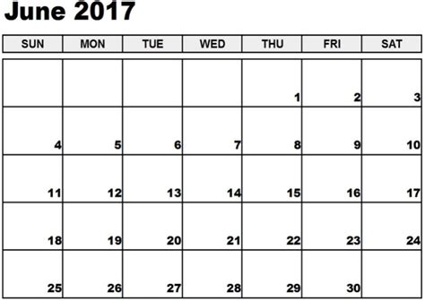 easy calendar template june 2017 calendar template printable