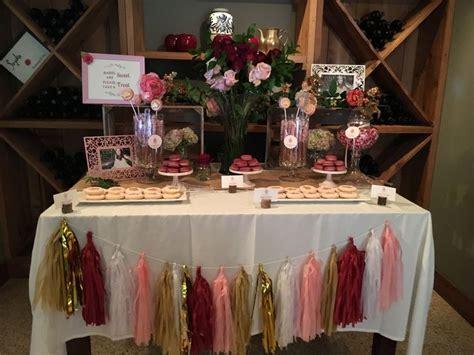 Burgundy, pink, gold dessert table.   Baby Shower