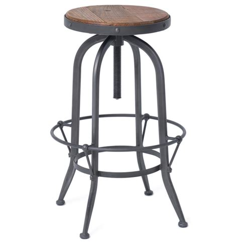 Rustic Backless Bar Stools by Industrial Loft Wood Iron Backless Swivel Barstool