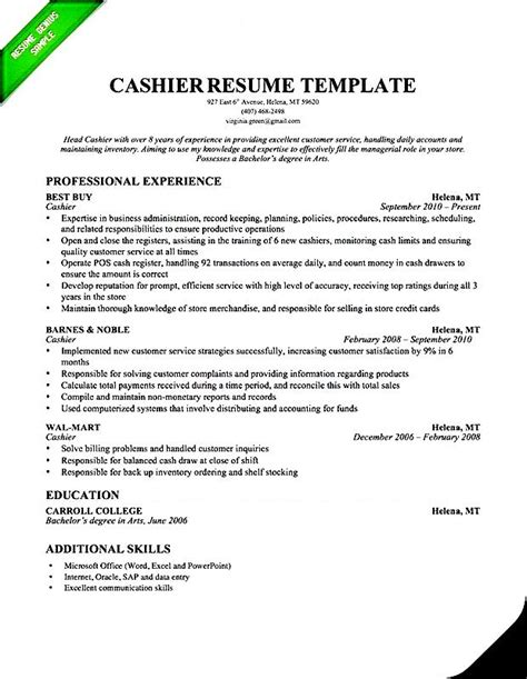 Cashier Resume Skills by Cashier Resume Template Professional Free Sles