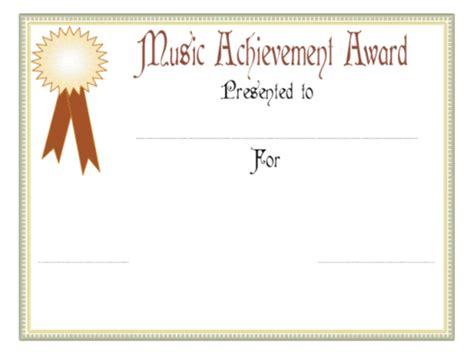 templates certificates music achievement award certificate