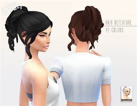 the sims 4 cc hair ponytail miss paraply kiara 24 curly ponytail hairstyle retextured