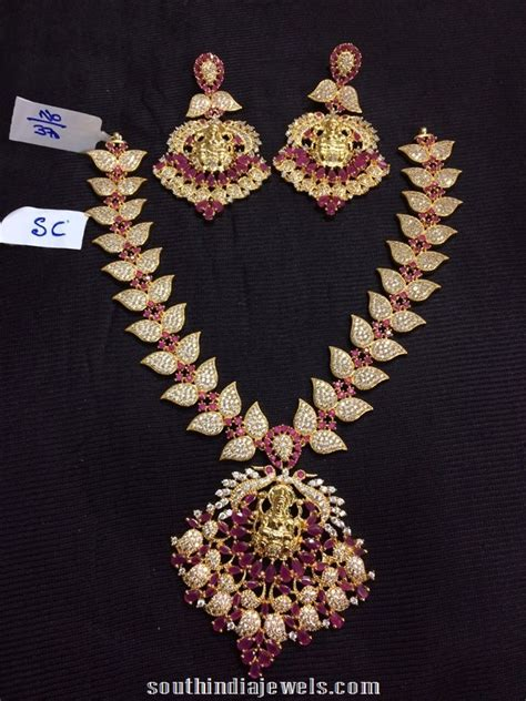 leaf pattern jewellery leaf pattern ad studded necklace south india jewels