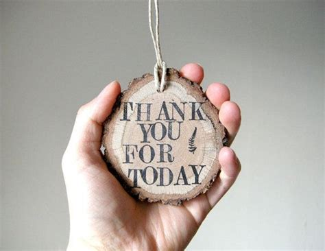 Thank You For Hanging In Today by Thank You For Today Oak Branch Slice Ornament Hang Tag