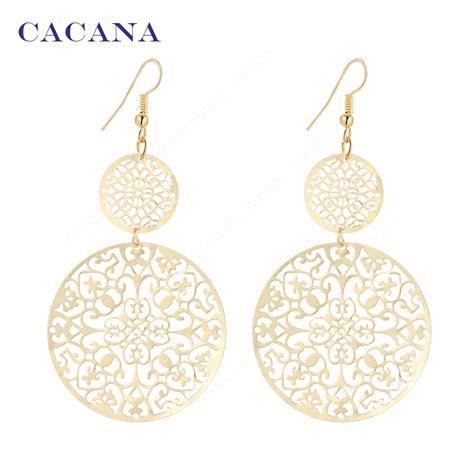 new pattern gold earrings aliexpress com buy cacana gold plated dangle long