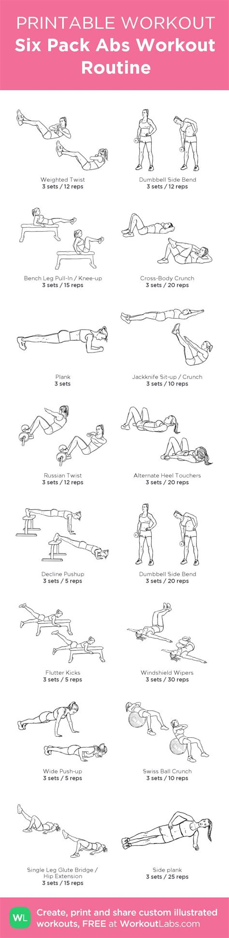 six pack abs workout routine my custom printable workout