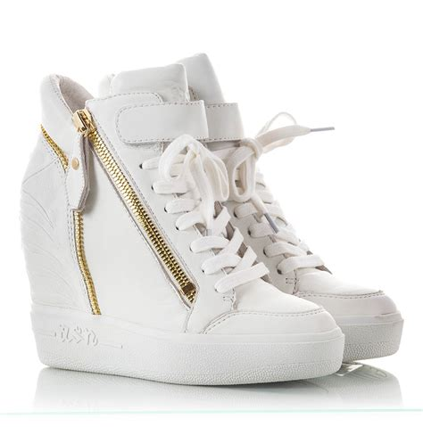 sneakers with high heels ash alfa white nappa leather high wedge heel sneakers