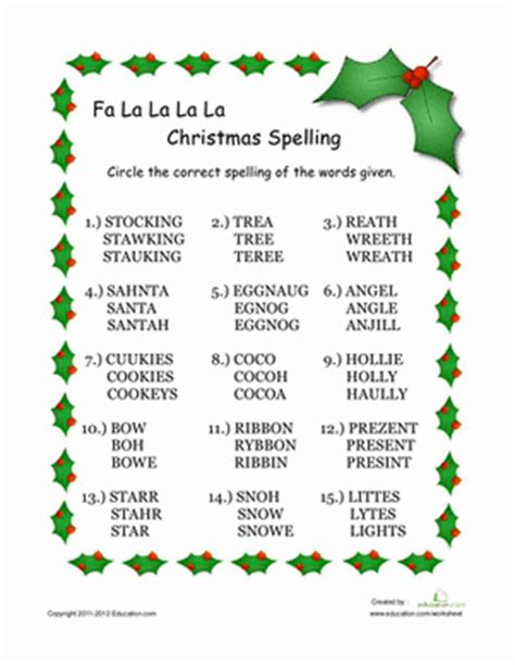 printable christmas spelling list christmas worksheets 2nd grade search results calendar
