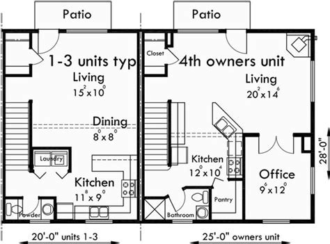 quadplex plans 4 plex plans fourplex with owners unit quadplex plans f