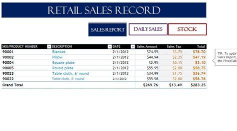 retail sales record  excel templates