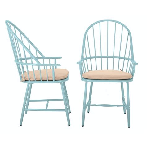 Patio Dining Chairs With Cushions Martha Stewart Living Blue Hill Blue Aluminum Outdoor Dining Chairs With Beige Cushions 2