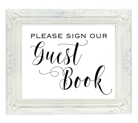 printable bridal shower guest book guest book wedding sign please sign our guest book