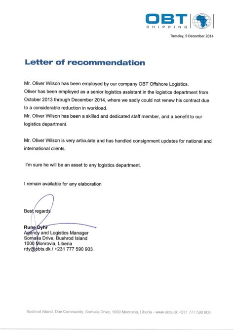 Recommendation Letter Business Analyst Letter Of Recommendation From Obt Shipping Liberia Limited Pdf