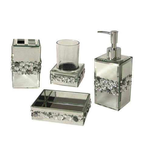 Shop Elegant Home Fashions Bling 4 Piece Bathroom Bathroom Accessories