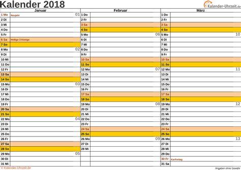 Kalender 2018 Querformat Zum Ausdrucken Jahreskalender 2018 Zum Ausdrucken Kostenlos Calendar