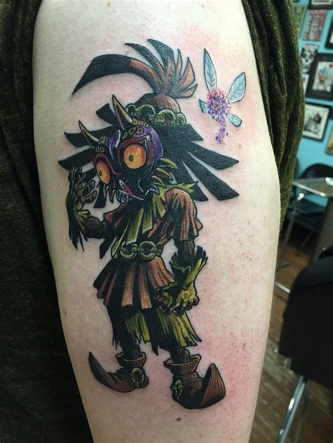 skull kid tattoo majora s mask by greg ross from blue in