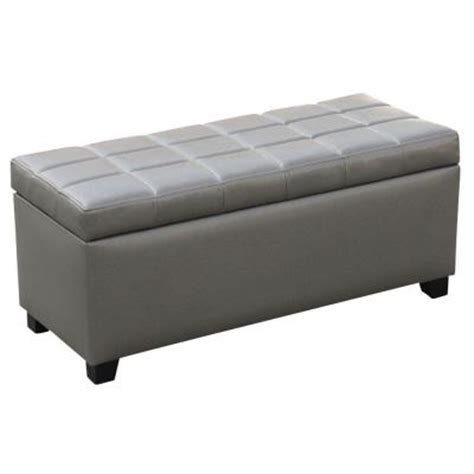 Gray Leather Ottoman Worldwide Homefurnishings Faux Leather Storage Ottoman In Grey 402 715gy The Home Depot