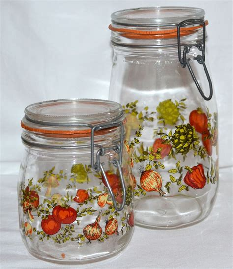 glass canister set for kitchen 1970s set of 2 glass kitchen canister jars france from