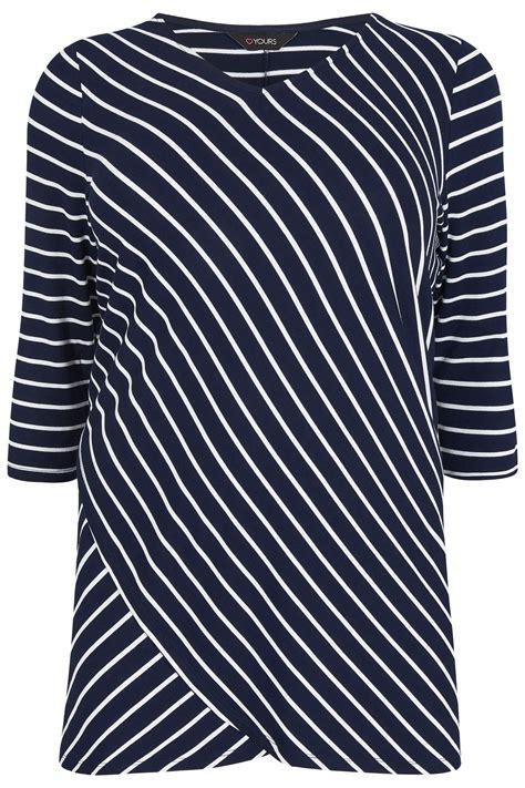 kaos wakai navy whhite size 36 43 navy white asymmetric striped top plus size 16 to 36