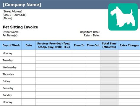 pet sitting invoice pet sitting invoice template