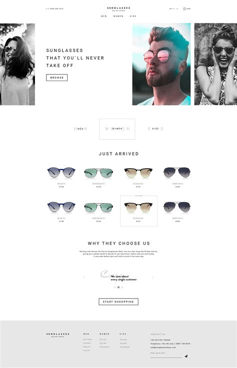 Online Website Design free sunglasses store online website design template