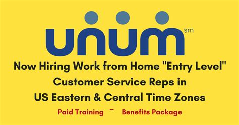 entry level customer service position with unum us