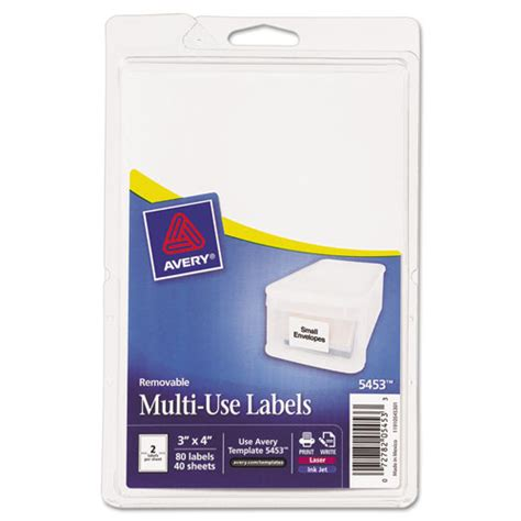 printable labels removable avery 05453 print or write removable multi use