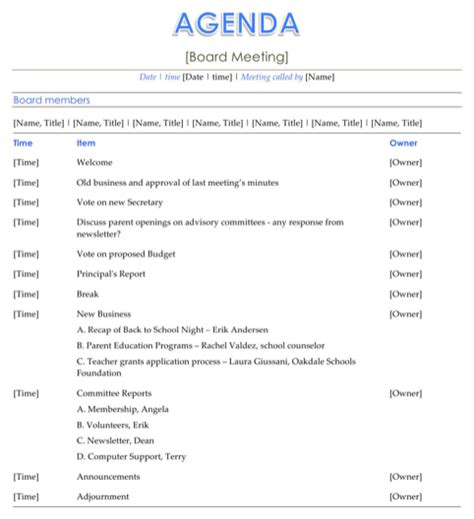 download board meeting agenda template for free formtemplate