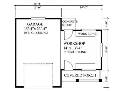 garage shop floor plans garage workshop plans one car garage workshop plan 010g 0005 at thegarageplanshop