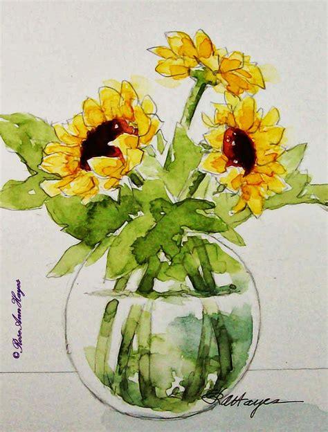 watercolor paintings  roseann hayes sunflowers