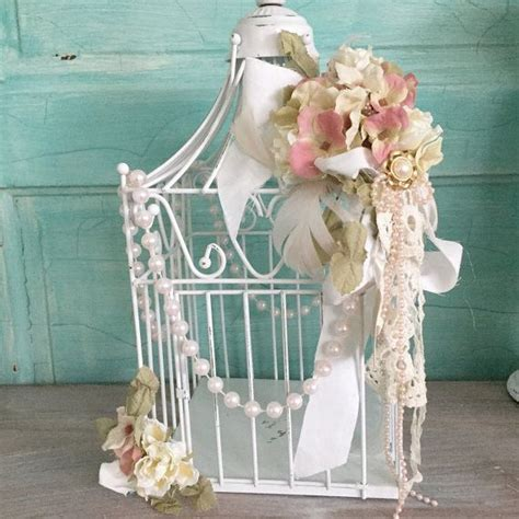 shabby chic white bird cage decorated wire metal bird cage cottage chic all things and dr who