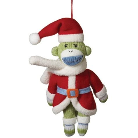 santa sock monkey christmas ornament christmas monkeys