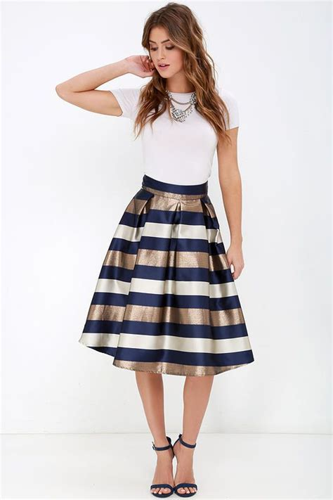 Navy Stripes Skirt dock of the bay navy blue and bronze striped midi skirt