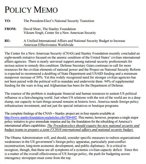 policy memo template sle policy memo 9 documents in pdf