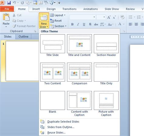 powerpoint add template inserting a new slide in powerpoint 2010 powerpoint