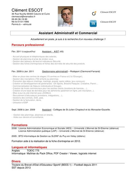 Cv In Commercial cv assistant administratif et commercial cv assistant