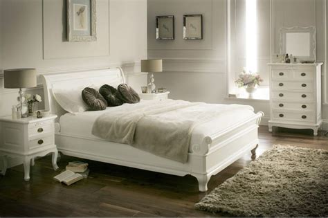 White Wooden Sleigh Bed La Louvier White Wooden Sleigh Bed Painted Wood Wooden Beds Beds Bedroom