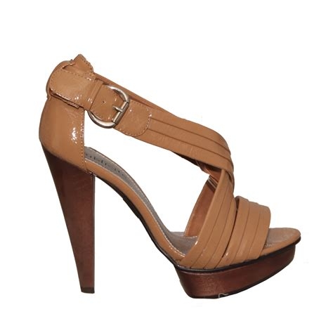 brown high heels shoes new womens brown high heel buckle shoe size 3 8 ebay