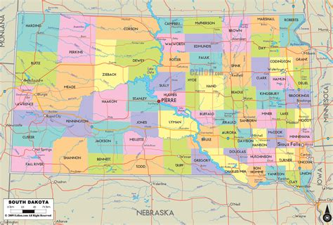 map of sd south dakota map free large images