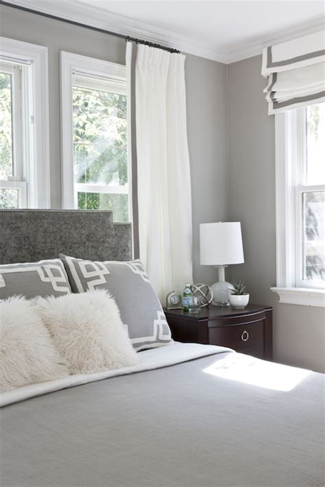 grey and white bedroom curtains headboard in front of window design decor photos