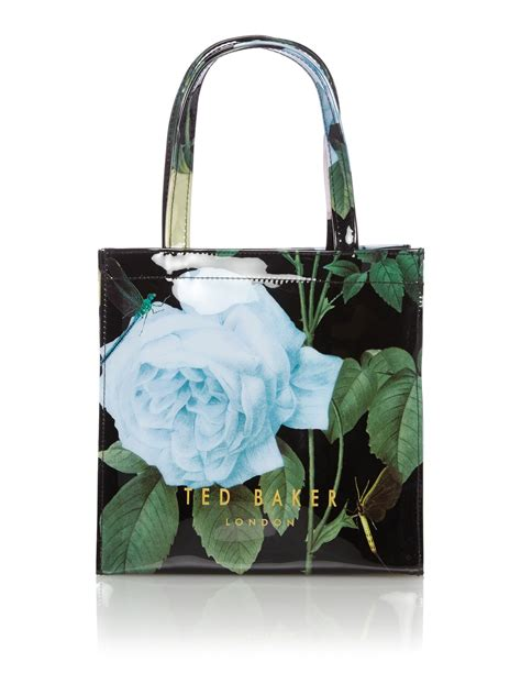 ted baker black floral print bowcon small tote bag in