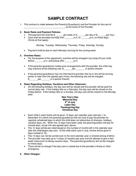 end of contract report template scope of work template daycare template