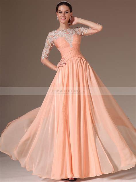 Sleeve Chiffon A Line Dress chiffon prom dresses with sleeves www pixshark