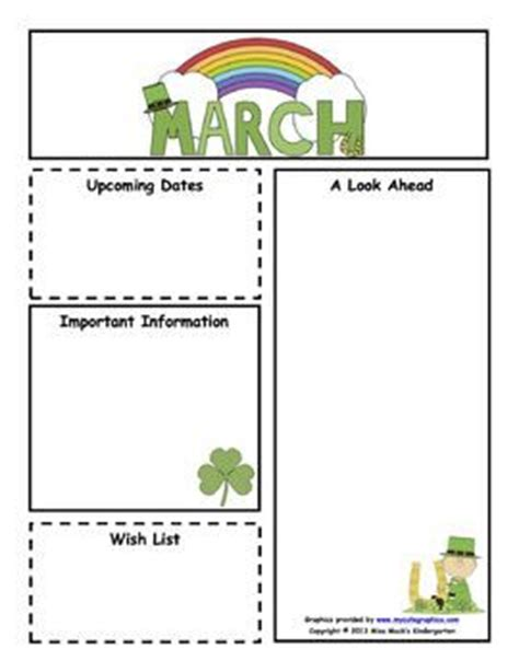 customizable march newsletter color b classroom