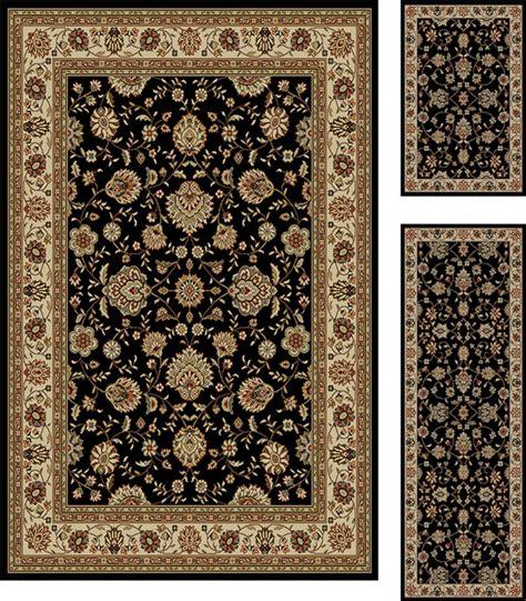 Black Border Rug by 3 Set Floral Black Border Area Rug Combo Ebay